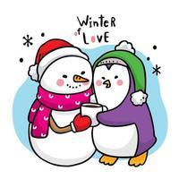 boneco de neve bonito dos desenhos animados abraçando um pinguim
