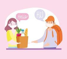 mensageiro e cliente com máscaras e sacola de compras
