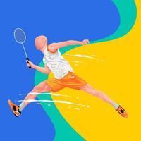 design de salto de jogador de badminton vetor
