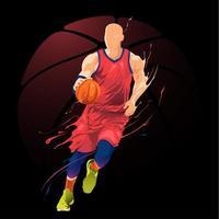 design de drible de jogador de basquete vetor