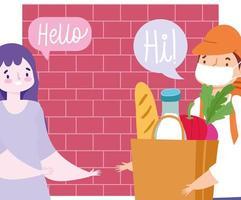 mensageiro carregando sacola com comida e mulher vetor