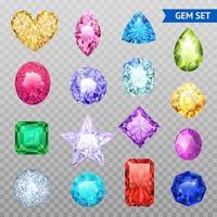 conjunto transparente de gemas coloridas