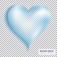 gota de água transparente coração vetor