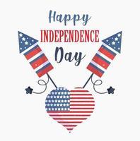 dia da independência dos EUA. bandeira, coração, com desenho vetorial de fogos de artifício