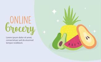 mercado online. entrega em domicílio de mercearia de frutas frescas vetor