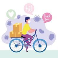 mensageiro andando de bicicleta com máscara e caixas vetor