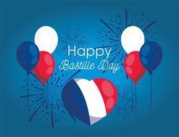 balões de coração com fogos de artifício do feliz dia da bastilha