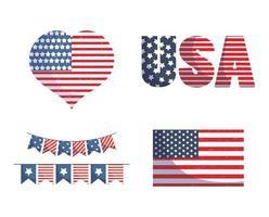 bandeira dos EUA, coração e flâmula de banner