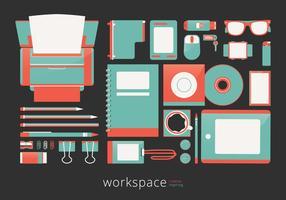 Workspace criativo com ferramentas e artigos de papelaria de vetor