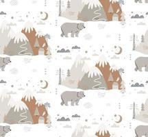 urso desenhado à mão em padrão de estilo escandinavo de inverno vetor