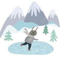 coelho fofo patinação no gelo cena de inverno na montanha vetor