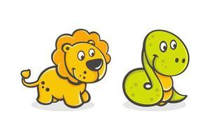 conjunto de desenho animado bebê leão e cobra vetor