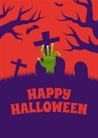 pôster de halloween com mão de zumbi no cemitério vetor