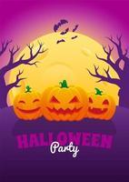 pôster de halloween com jack o lanterns e lua cheia vetor