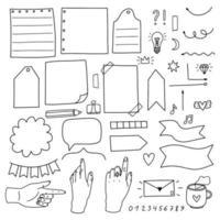 conjunto de elementos doodle para bullet journal vetor
