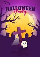 pôster de halloween com cemitério assustador à noite vetor