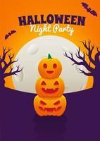 pôster de halloween com jack o lanterns empilhados vetor