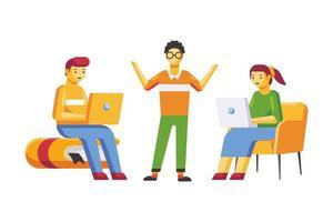 desenho de desenho animado de pessoas estudando vetor