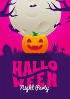 pôster da festa da noite de halloween com abóbora no cemitério vetor