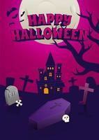 pôster de halloween com castelo assustador à noite vetor