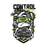 menino com design de camiseta com controle remoto