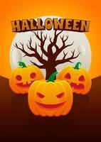 pôster de halloween com jack o lanterns, árvore e lua vetor