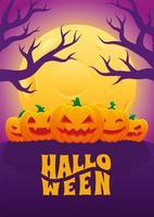 pôster de halloween com cinco jack o lanterns vetor