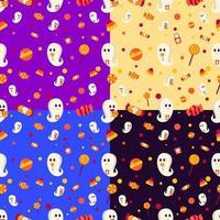 padrão sem emenda de halloween com fantasmas e doces vetor
