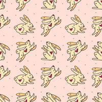 coelhos da Páscoa doodle fofo padrão sem emenda vetor