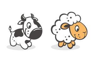conjunto de desenho animado bebê vaca e cabra