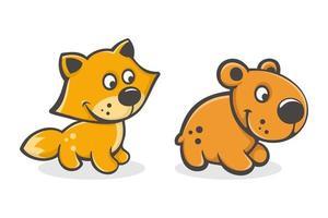 conjunto de desenho animado bonito bebê raposa e urso