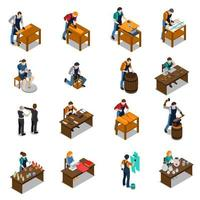 conjunto de fabricantes de artesanato isométrico trabalhando vetor