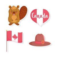 castor, bandeira, coração e chapéu para o dia do Canadá