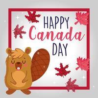 castor com moldura e folhas de bordo canadense