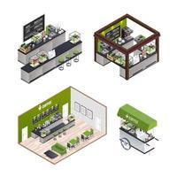 conjunto de cafeterias isométricas vetor