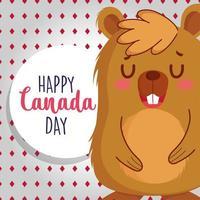 castor com moldura circular feliz dia do Canadá