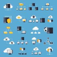 conjunto de ícones de serviços de hospedagem isométrica vetor