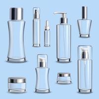 conjunto de embalagens e recipientes de vidro para cosméticos realistas vetor