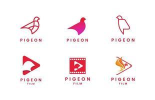 conjunto de logotipo de pombo plano vetor