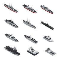 conjunto isométrico de navio militar vetor