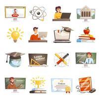 conjunto de ensino à distância e aprendizagem online vetor
