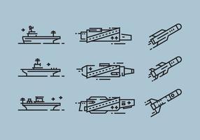 Porta-aviões e mísseis lineares ícone vetores