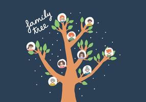 Desenhado mão Vector Família Árvore
