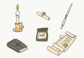 Inkwell e Escrita Set Vector grátis