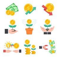 conjunto de ícones de investimento vetor