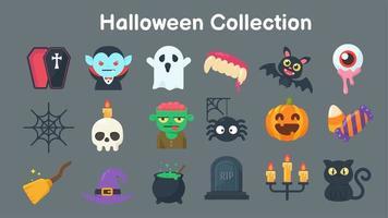 coleção de fantasmas e objetos para o halloween vetor