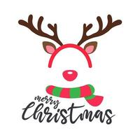 design de cartão de natal com fita e lenço de rena vetor
