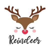 desenho de cartão de natal com cara de rena fofa vetor