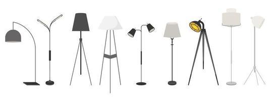 conjunto de lâmpadas isolado no branco vetor