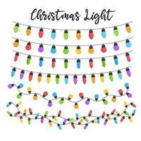 conjunto de lâmpadas coloridas de natal vetor
